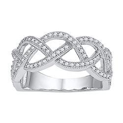 Diamond Woven Strand Band Ring 1/2 Cttw 10kt White Gold