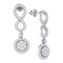 Diamond Cluster Dangle Infinity Earrings 1-1/4 Cttw 10kt White Gold