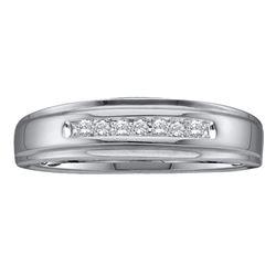 Mens Diamond Channel-set Wedding Anniversary Band Ring 1/12 Cttw 10kt White Gold