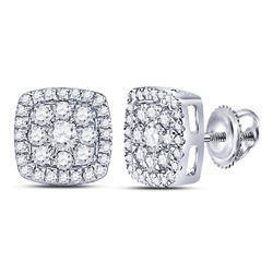 Diamond Square Cluster Earrings 1.00 Cttw 14kt White Gold