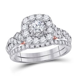 Diamond Bridal Wedding Engagement Ring Band Set 1-1/2 Cttw 14kt Two-tone Gold