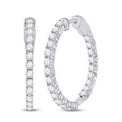 Diamond Inside-Outside Hoop Earrings 3.00 Cttw 14kt White Gold
