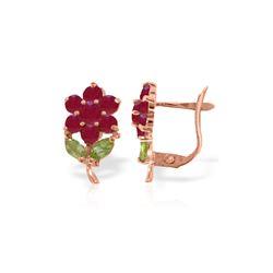 Genuine 2.12 ctw Peridot & Ruby Earrings 14KT Rose Gold - REF-42P7H