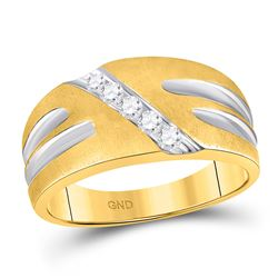 Mens Diamond Band Ring 1/4 Cttw 10kt Two-tone Gold