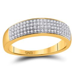 Mens Round Pave-set Diamond Wedding Band Ring 1/4 Cttw 10kt Yellow Gold