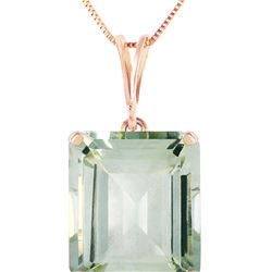 Genuine 6.5 ctw Green Amethyst Necklace 14KT Rose Gold - REF-35R2P