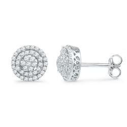 Diamond Concentric Cluster Screwback Earrings 1/2 Cttw 10kt White Gold