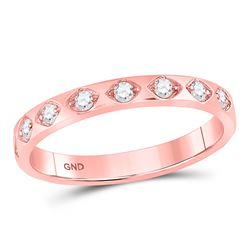 Diamond Flush Diamond Shaped Stackable Band Ring 1/5 Cttw 10kt Rose Gold
