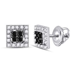 Round Black Color Enhanced Diamond Square Cluster Screwback Earrings 1/3 Cttw 10kt White Gold
