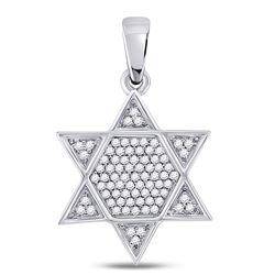 Mens Diamond Star Magen David Jewish Charm Pendant 1/5 Cttw 10kt White Gold