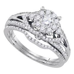 Diamond Cluster Bridal Wedding Engagement Ring Band Set 3/4 Cttw 14kt White Gold