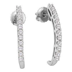 Diamond J Half Hoop Screwback Earrings 1/2 Cttw 14kt White Gold