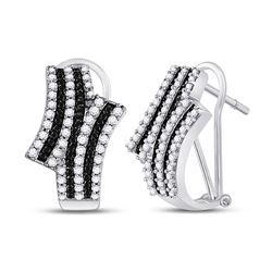 Round Black Color Enhanced Diamond Hoop Earrings 7/8 Cttw 14kt White Gold