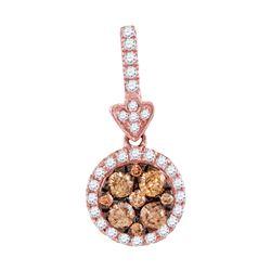 Round Brown Diamond Circle Frame Cluster Pendant 1/2 Cttw 14kt Rose Gold