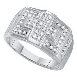 Mens Diamond Square Cross Cluster Ring 1/3 Cttw 10kt White Gold