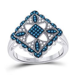 Round Blue Color Enhanced Diamond Square Cluster Ring 1/4 Cttw 10kt White Gold