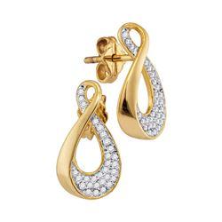 Diamond Teardrop Cluster Earrings 1/5 Cttw 10kt Yellow Gold