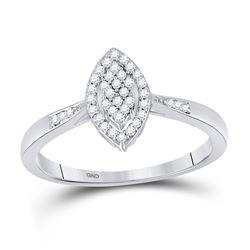 Diamond Oval Cluster Ring 1/8 Cttw 10kt White Gold
