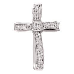 Diamond Asymmetrical Curved Cross Pendant 1/4 Cttw 10kt Yellow Gold
