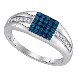 Mens Round Blue Color Enhanced Diamond Square Cluster Ring 1/2 Cttw 10kt White Gold