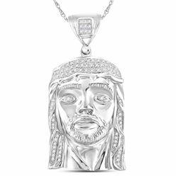 Mens Diamond Jesus Christ Head Face Charm Pendant 1/4 Cttw 10kt White Gold