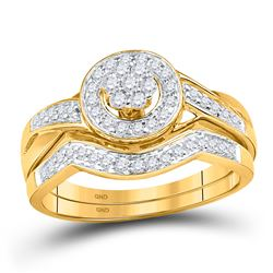 Diamond Cluster Bridal Wedding Engagement Ring Band Set 1/3 Cttw 10kt Yellow Gold