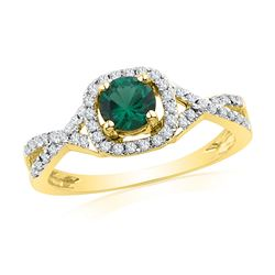 Round Lab-Created Emerald Solitaire Diamond Ring 3/4 Cttw 10kt Yellow Gold