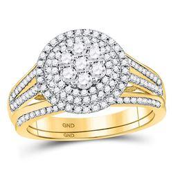Diamond Flower Cluster Bridal Wedding Engagement Ring Band Set 7/8 Cttw 10kt Yellow Gold