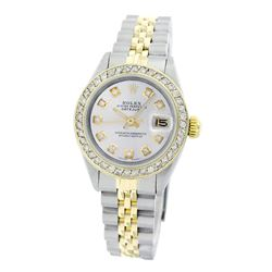 Rolex Pre-owned 26mm Womens Custom White Mother of Pearl Two Tone - REF-530R4M