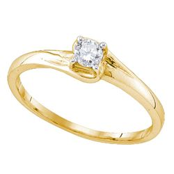 Diamond Solitaire Promise Bridal Ring 1/8 Cttw 10kt Yellow Gold