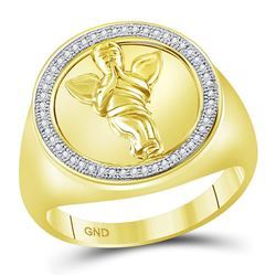 Mens Diamond Angel Cherub Circle Frame Ring 1/8 Cttw 10kt Yellow Gold