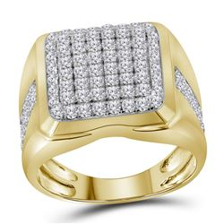 Mens Diamond Square Cluster Fashion Ring 2.00 Cttw 10kt Yellow Gold