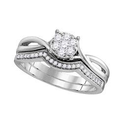 Diamond Twist Bridal Wedding Engagement Ring Band Set 1/3 Cttw 10kt White Gold