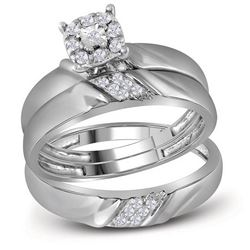 His & Hers Diamond Solitaire Matching Bridal Wedding Ring Band Set 1/5 Cttw 10kt White Gold
