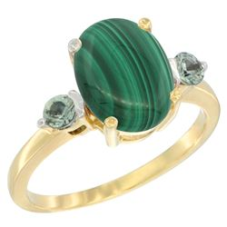 2.99 CTW Malachite & Green Sapphire Ring 14K Yellow Gold - REF-30X3M