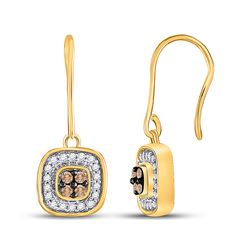 Round Brown Diamond Square Cluster Dangle Earrings 1/3 Cttw 14kt Yellow Gold