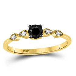 Round Black Color Enhanced Diamond Solitaire Bridal Wedding Engagement Ring 1/3 Cttw 10kt Yellow Gol