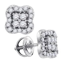Diamond Square-shape Cluster Stud Screwback Earrings 1/2 Cttw 14k White Gold