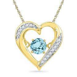 Round Lab-Created Blue Topaz Moving Twinkle Heart Pendant 3/8 Cttw 10kt Yellow Gold