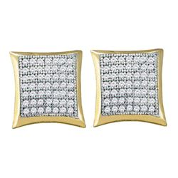 Diamond Square Kite Square Screwback Earrings 1/3 Cttw 10kt Yellow Gold