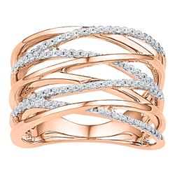 Diamond Crossover Strand Fashion Band Ring 1/4 Cttw 10kt Rose Gold