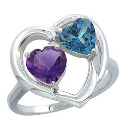 2.61 CTW Diamond, Amethyst & London Blue Topaz Ring 14K White Gold - REF-34N2Y
