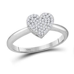 Diamond Heart Fashion Ring 1/6 Cttw 10kt White Gold