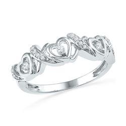 Diamond Heart Band Ring 1/8 Cttw 10kt White Gold