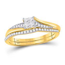 Diamond Cluster Bridal Wedding Engagement Ring Band Set 1/3 Cttw 14kt Yellow Gold