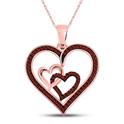 Round Red Color Enhanced Diamond Heart Pendant 1/4 Cttw 10kt Rose Gold