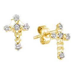 Diamond Cross Religious Earrings 1/20 Cttw 10kt Yellow Gold