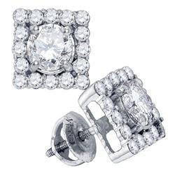 Diamond Square Frame Solitaire Stud Earrings 7/8 Cttw 14kt White Gold
