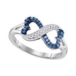Round Blue Color Enhanced Diamond Infinity Heart Ring 1/6 Cttw 10kt White Gold