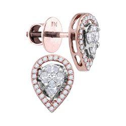 Oval Diamond Teardrop Cluster Stud Earrings 1/2 Cttw 14kt Rose Gold